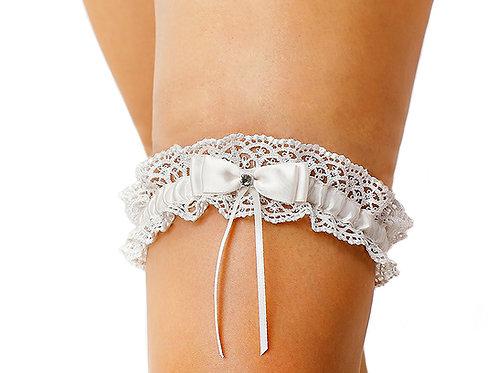 Ivory Bow Tie Ribbon Style Wedding Garter with Rhinestone