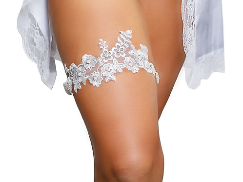 Ivory Floral Lace Wedding Bridal Garter with Rhinestone