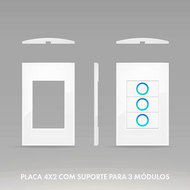 Placa 4x2 com Suporte para 3 Módulos