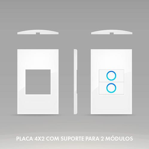 Placa 4x2 com Suporte para 2 Módulos