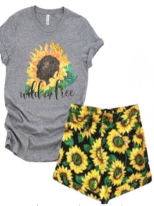 Wild and Free Sunflower Short Set