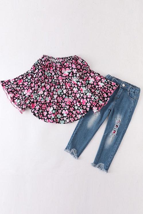 Pink Clover Denim Jeans Set