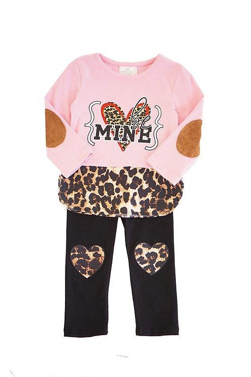 Be Mine Leopard Pink Top w/ Heart Pants Set