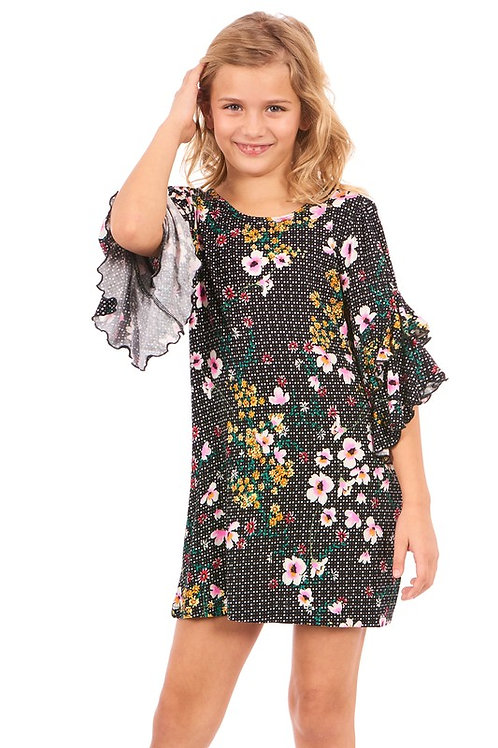 Girls' Ruffle Layer Sleeve A-Line Dress