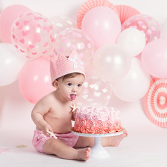 smash cake rosa bebe