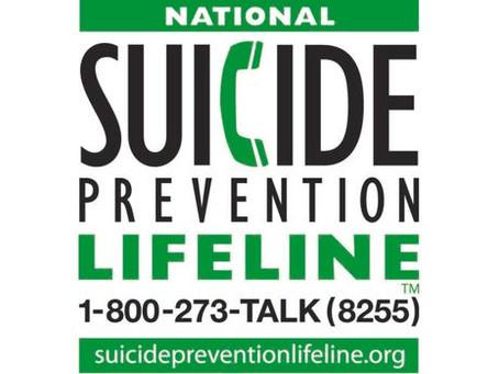 National Suicide Prevention Lifeline 1-800-273-8255