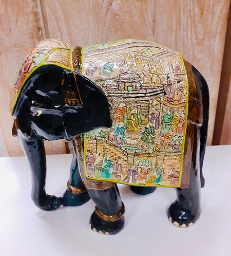 "11"" Kashmiri Handcarved Elephant"
