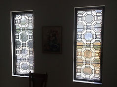 beveld and stained glass panels