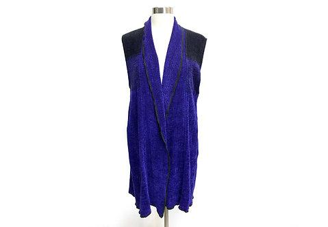 Cobalt/Black Vest w/Shawl Collar