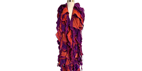 Waterfall Scarf in Fuchsia &  Cayenne