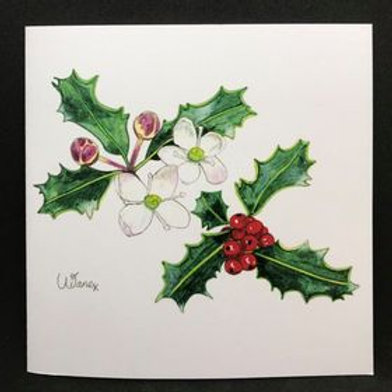 Bach Flower holly art cards - blank - pack of 5