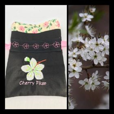"""Cherry Plum"" Flower drawstring bag"