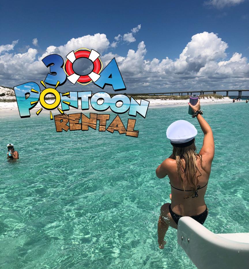 pontoon rental girl on slide 30a with lo