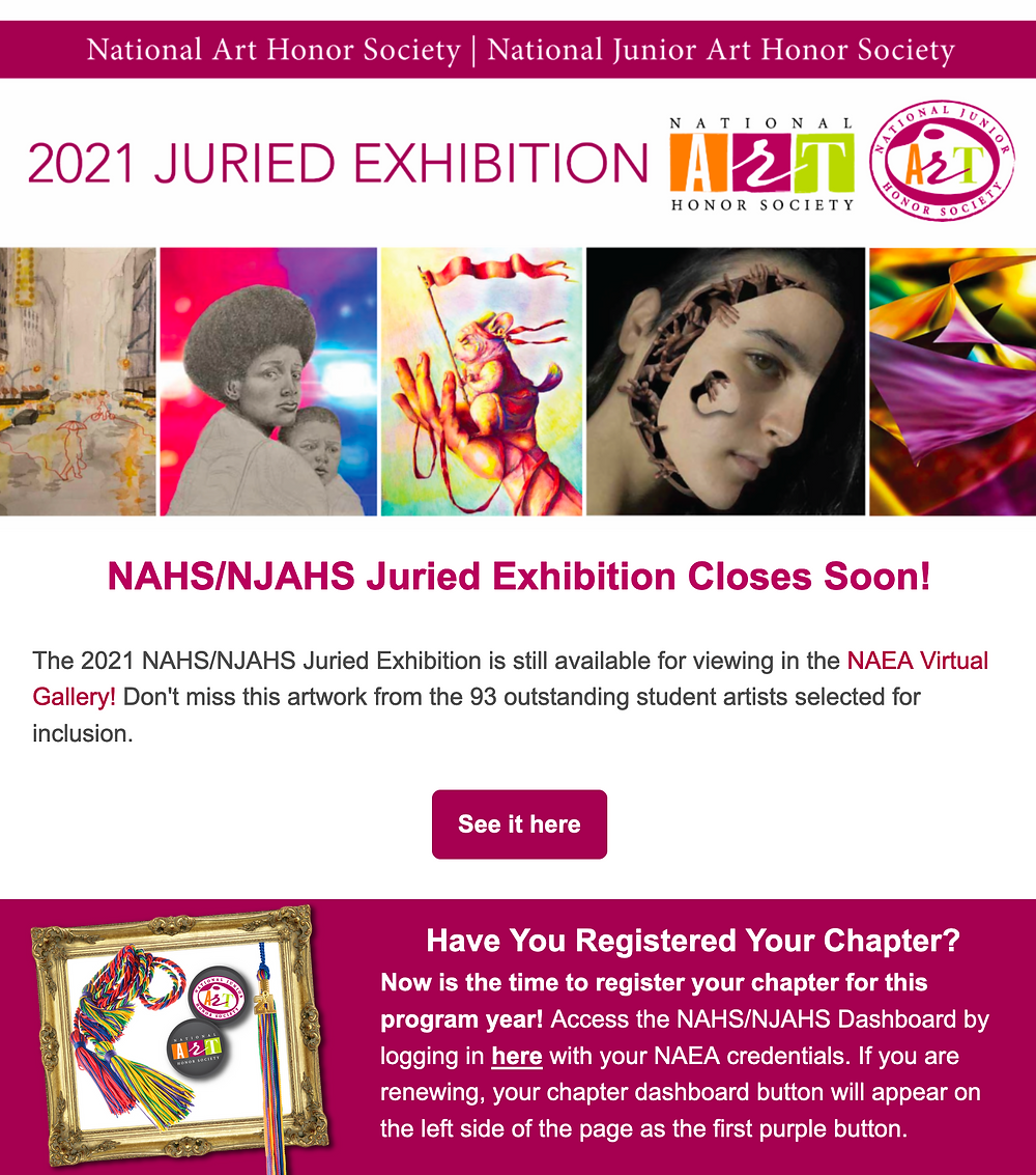 Info card about NAHS/NJAHS juried exhibition online