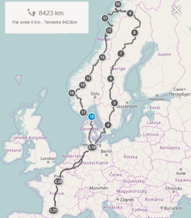 Itinéraire théorique - roadtrip Nord Européen