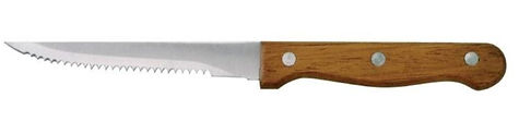 A small serrated knife or steak knife with a walnut brown handle.