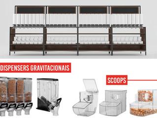 Dispensers para exposição e venda de alimentos à granel