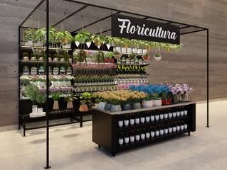 Exposição Temática de Flores em Supermercados