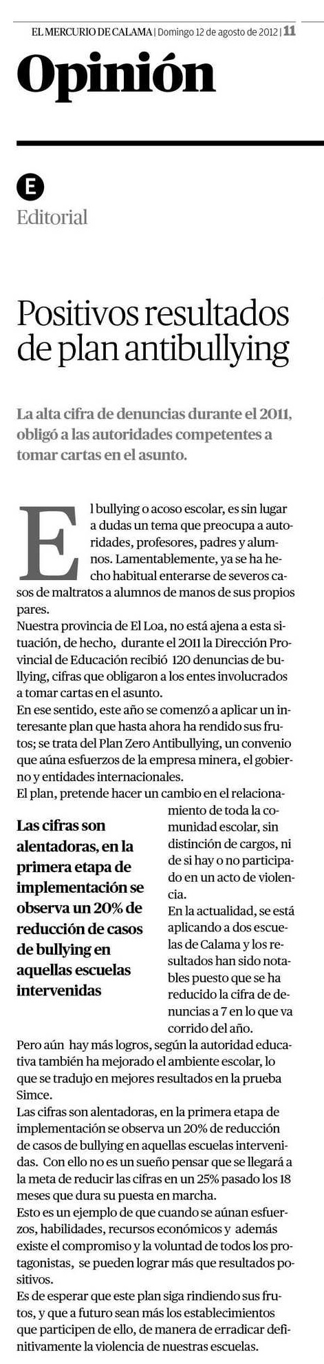 Editorial Mercurio de Calama-Chile