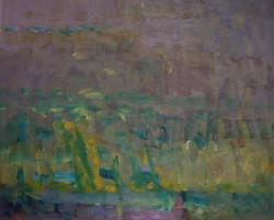 Olje - Landskap i rosa og gult