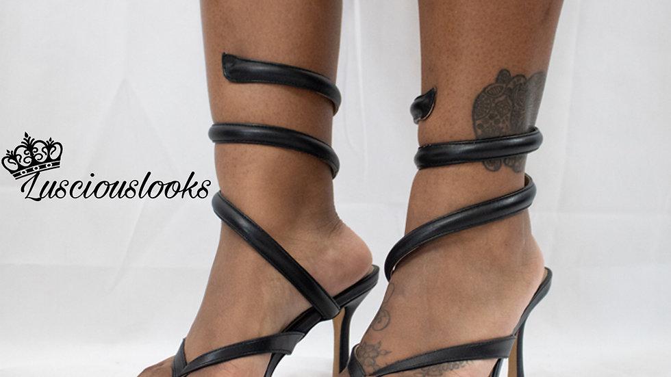 HBIC Black Strap Heel
