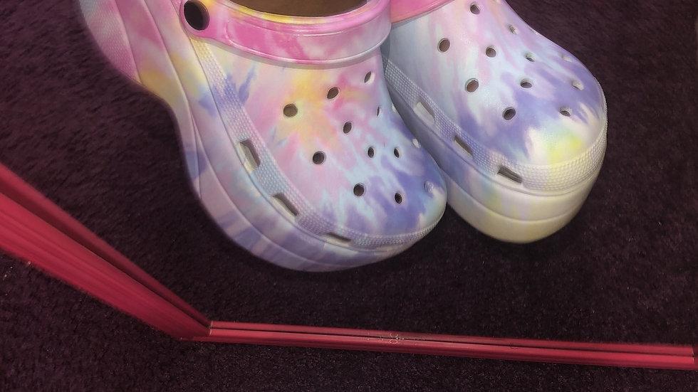 Tie Dye Platform Crocs