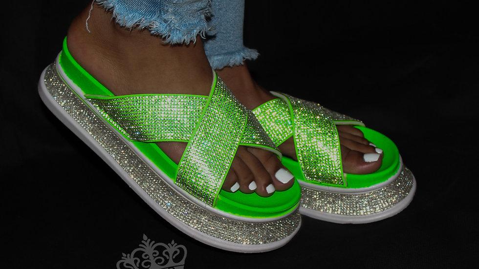 Summer Time Fine Platform Slides - Neon Green