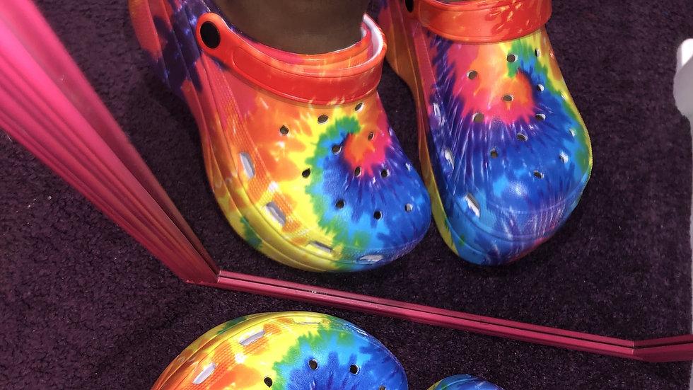 Rainbow Platform Crocs