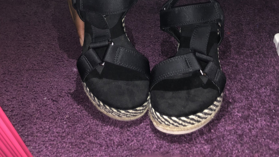 Black Harness Platform Sandals