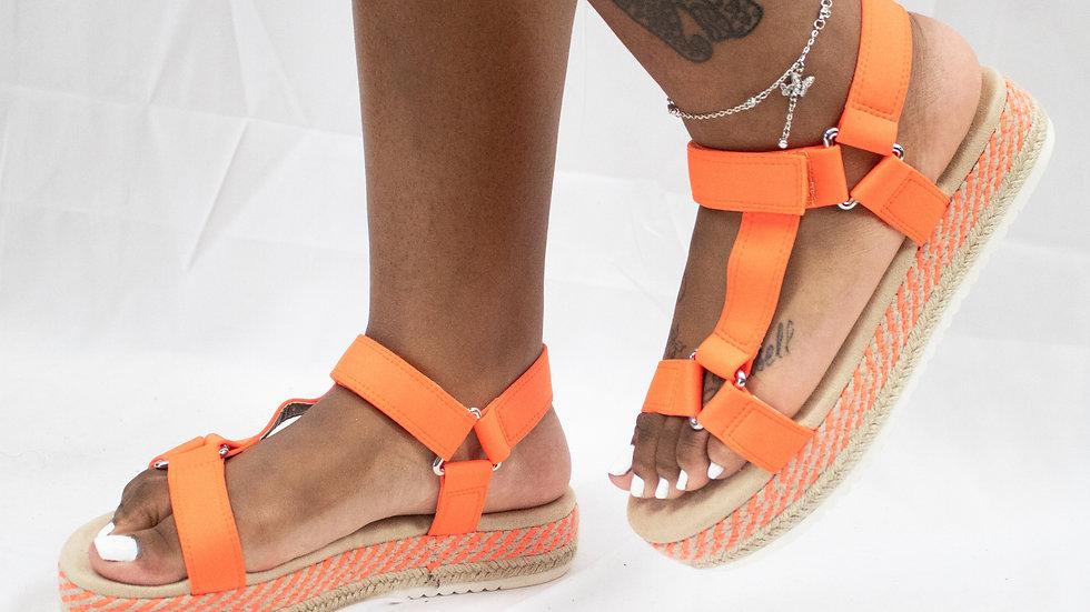 Neon Orange Harness Platform Sandals