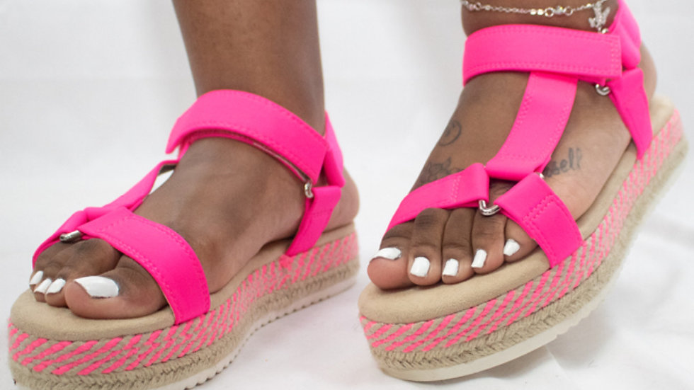 Neon Pink Harness Sandals