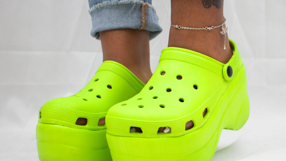 Lime Green Platform Crocs