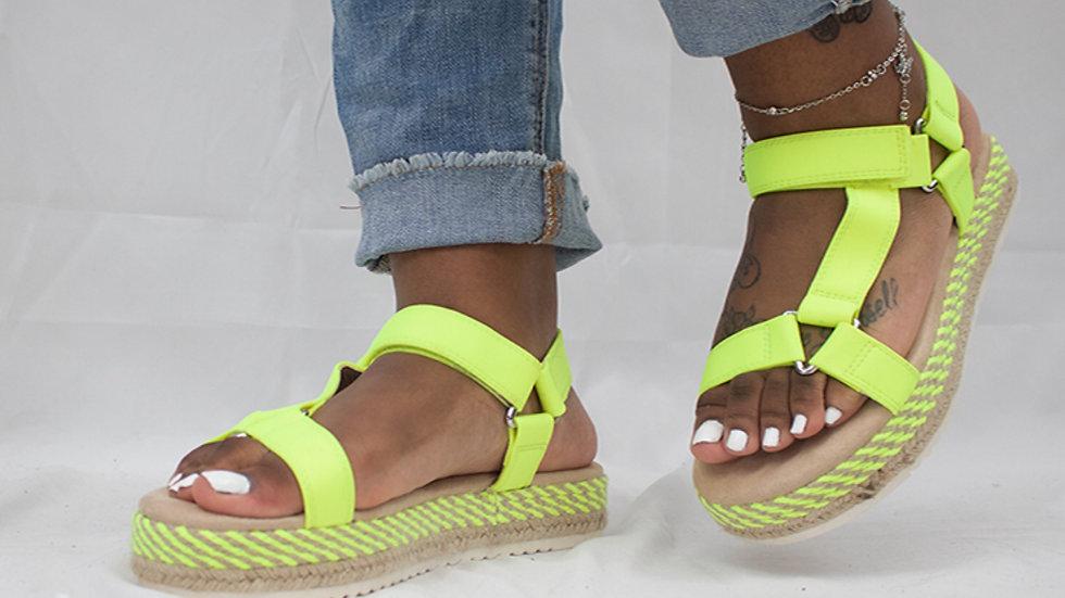 Neon Yellow Harness Platform Sandals