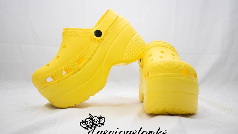 Yellow Platform Crocs