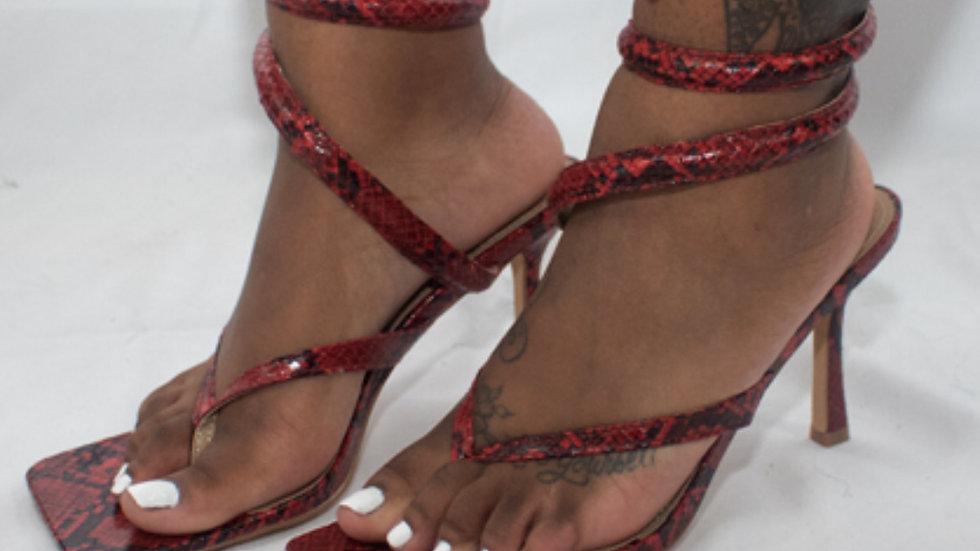 HBIC Red Snakeskin Strap Heel