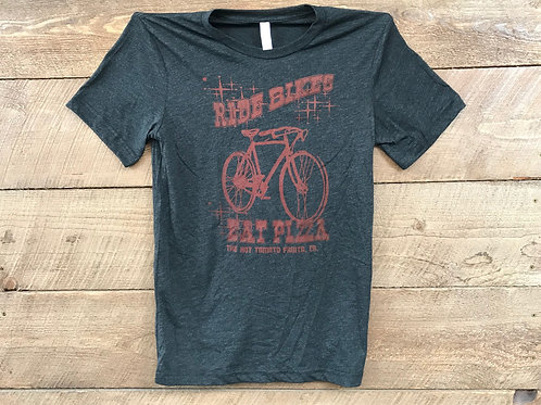 Men's Ride Bikes Eat Pizza T-Shirt - Black with Red Print