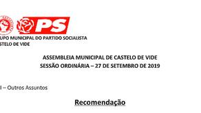 Assembleia Municipal aprova por unanimidade duas recomendações do PS
