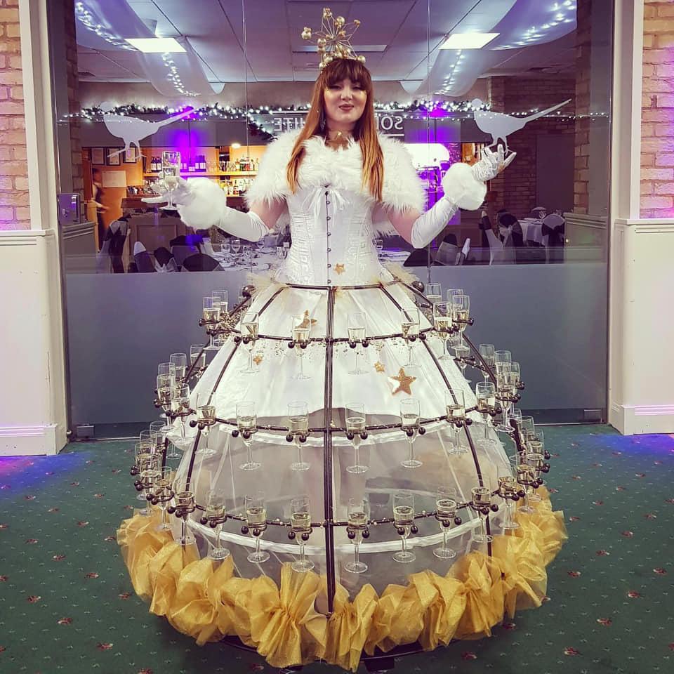 Christmas star champagne skirt