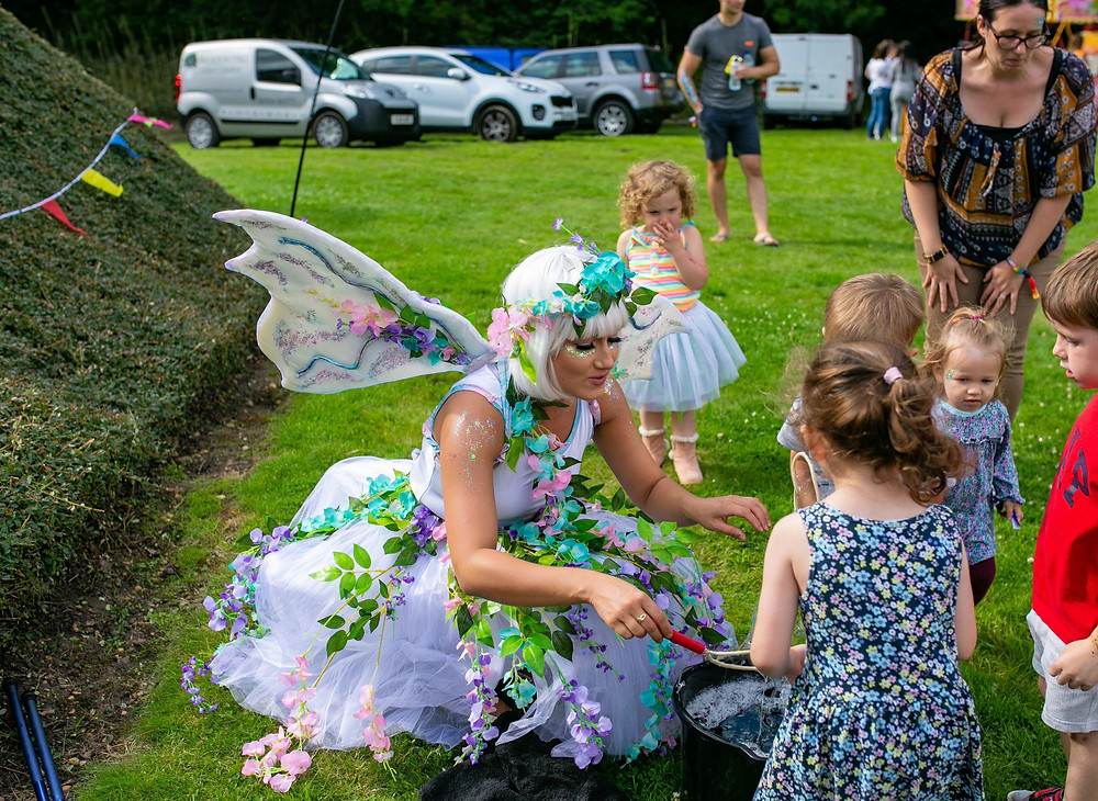 Fairy Bubbleologist at corporate summer party