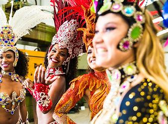 Brazilian women wearing carnival costume