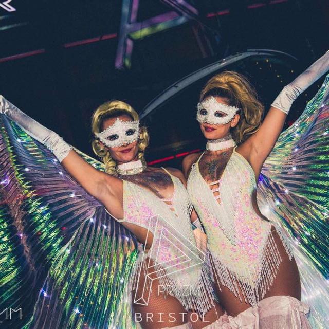 White LED Winged Showgirl