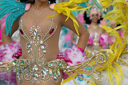 A woman in costume dancing on carnival