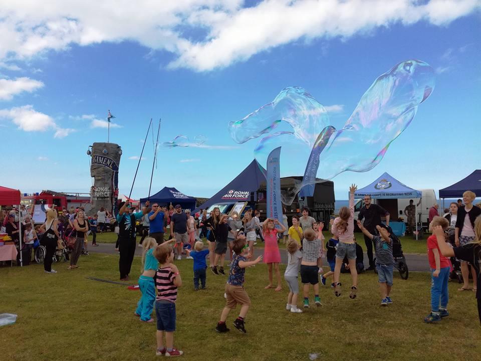 Bubbles over crowd