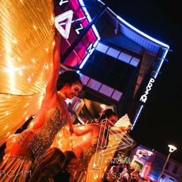 Gold LED Winged Showgirl