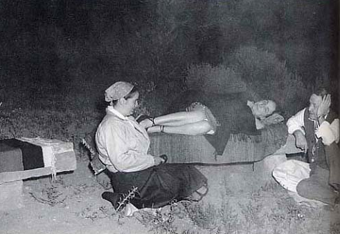Maria Chabot, Georgia O'Keeffe and Holger Cahill camp in Navajo Canyon, 1942. Photo by John Candelario.