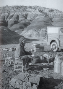 O'Keeffe camping at the Black Place.