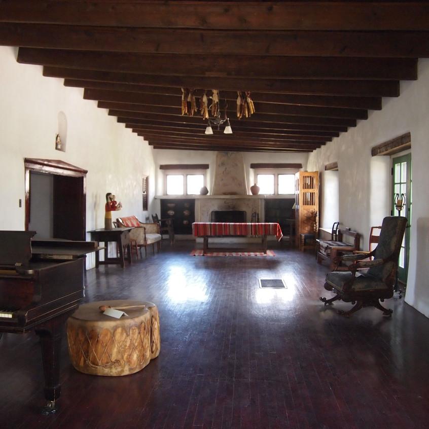 "The upstairs ""main room"" of the hacienda."