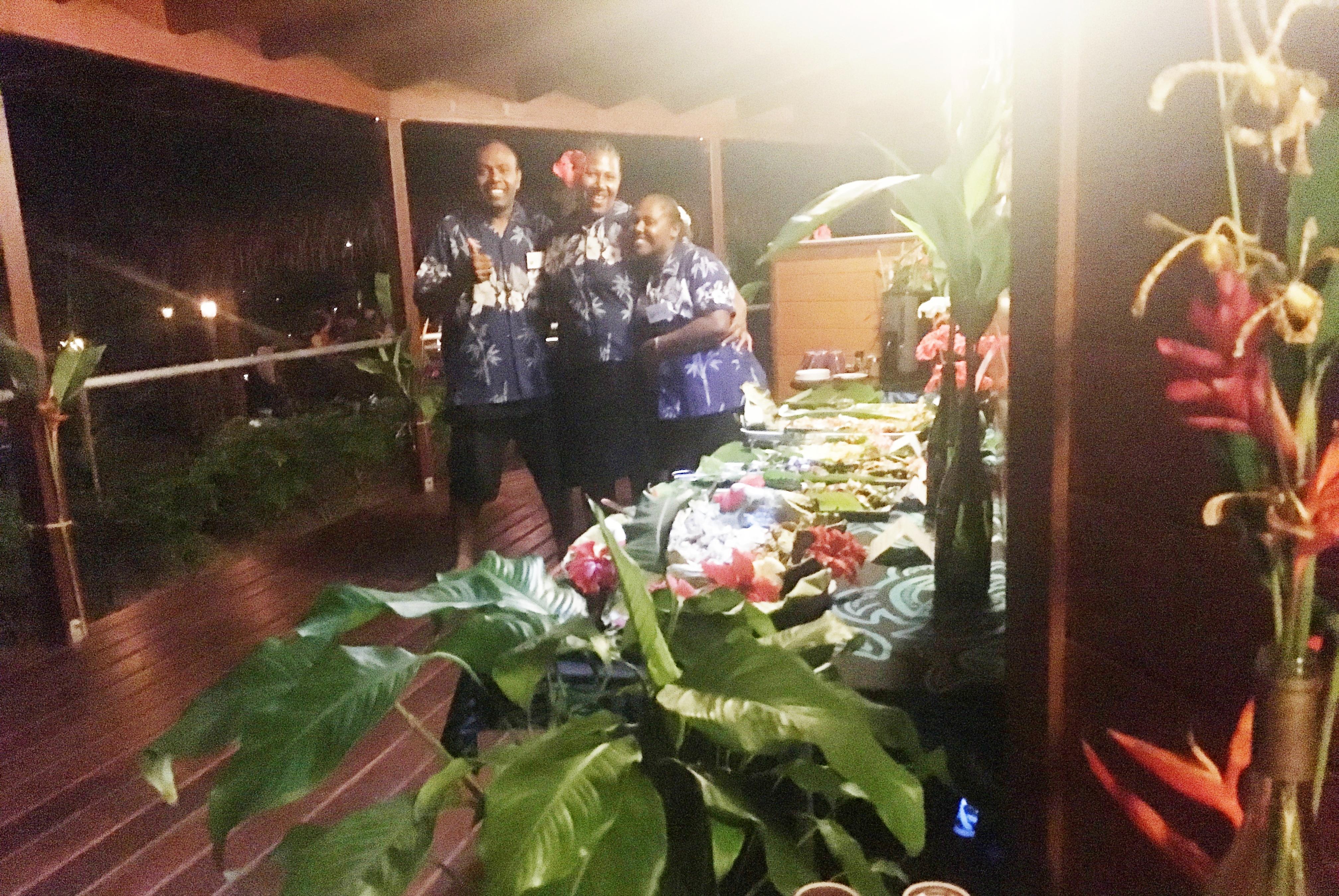 Service staff, island buffet