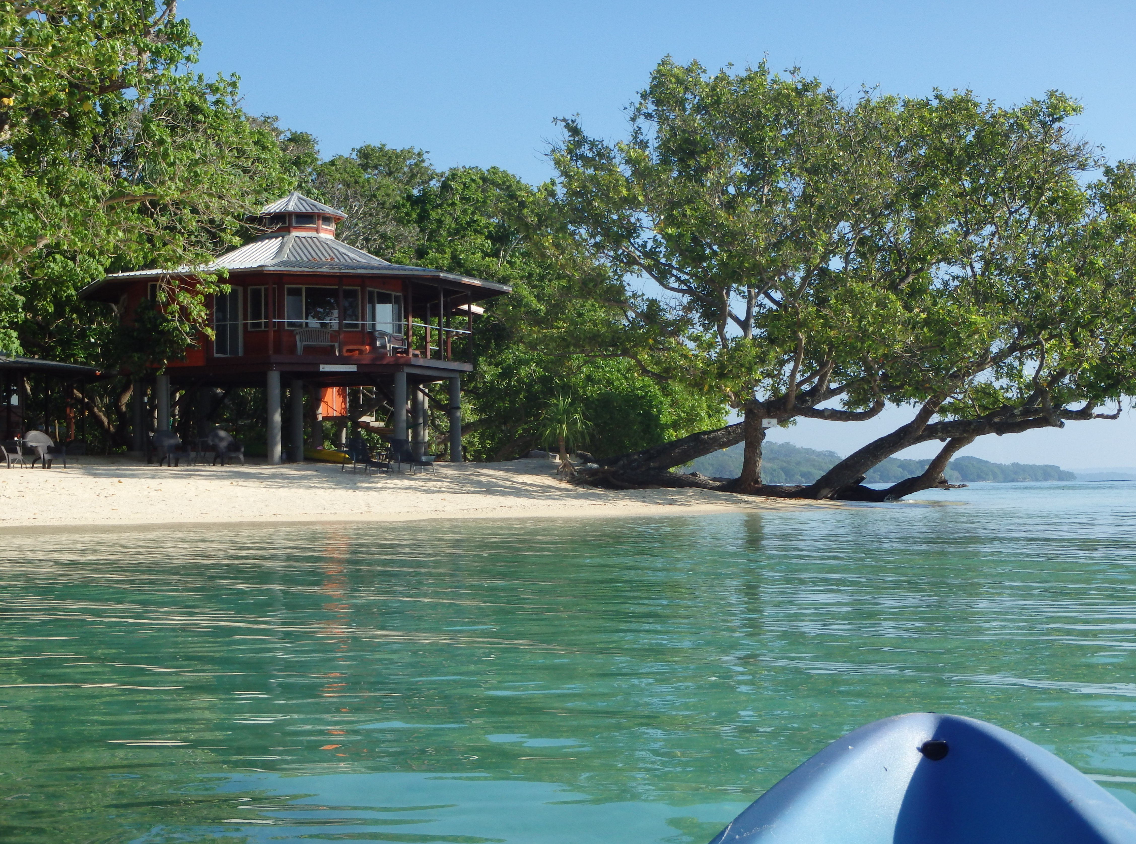 Frangipani beach cabana, from kayak