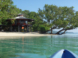 Frangipani beach cabana, from kayak